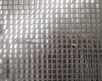 Square Sequins Hologram Fabric - SILVER - Sold By Yard Purse Wallet Dress Phone Cover Accessories