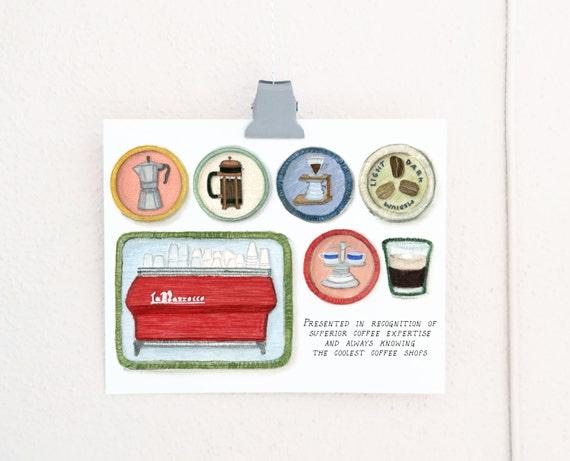 Coffee Snob Merit Badges print of a watercolor illustration