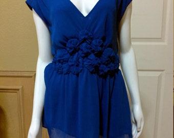 Vintage Chiffon Sleevless Royal Blue Blouse By ECI /Summer Desinger Blouse Size 10