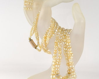 Antique stunning gigantic double strand natural Basra pearl Victorian Necklace