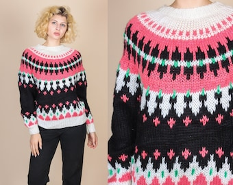 80s Fair Isle Sweater | Vintage Knit Nordic Crew Neck Pullover Jumper