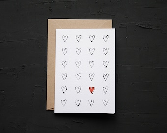 Hearts - Valentines Card - Love Card - Anniversary Card - Birthday Card - Note Card - Blank Card - Cards