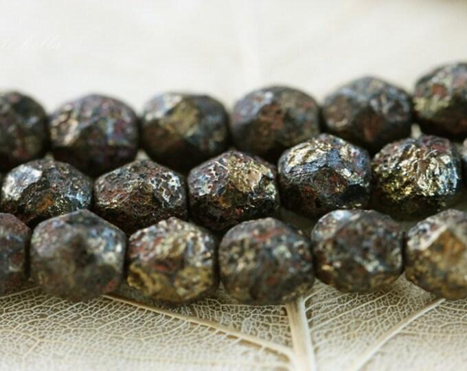 GOLDEN LAVA BITS .. 25 Stone Picasso Czech Glass Beads 6mm (3301-st)