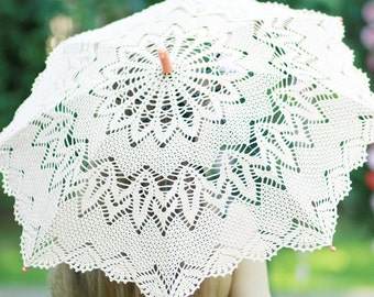 SALE Crochet Lace photo Wedding Umbrella - elegant lace Parasol, brown lace beach Umbrella ready  to ship