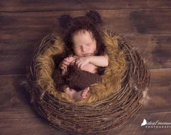 Furry Newborn Bear Bonnet / Baby Bear Bonnet/ Bear Bonnet and pants set/ Newborn Bear Photo Prop