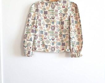 Vintage Novelty Print Girl's Blouse