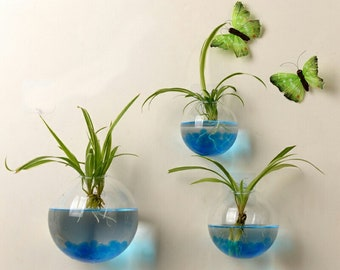SALE Set of 3 Wall Bubble Terrariums Glass Wall Vase for Flowers or House Plants Indoor Wall Gardening Decor Gift for Living Home Deoor