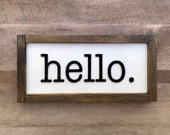 3D Farmhouse Style Hello Sign with Typewriter Font