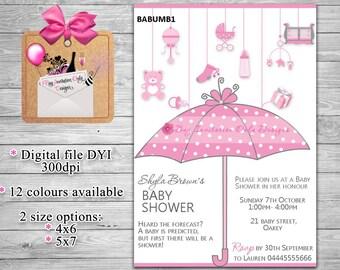 Umbrella Baby Shower Invitation, Baby Sprinkle Invitations, Boy, Girl, Gender neutral, DIY printable file, Baby Shower Invites