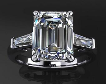 laurel ring – 2.5 carat emerald cut NEO moissanite engagement ring, baguette ring