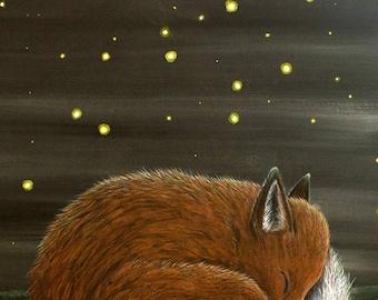 Fox and Fireflies Illustration Archival Art Print ~ Animal Art / Wildlife Art / Children's Wall Art / Fox Art / A4 print / Sleeping Fox