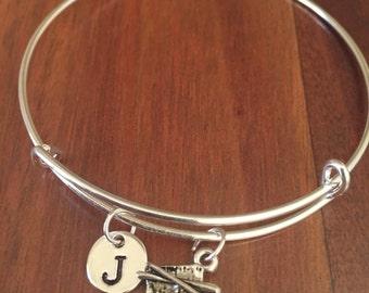 KIDS SIZE - Sushi initial bracelet, food bracelet, Sushi bracelet, Sushi lover, food jewelry, Gift for Sushi Lover, Gift for Foodie