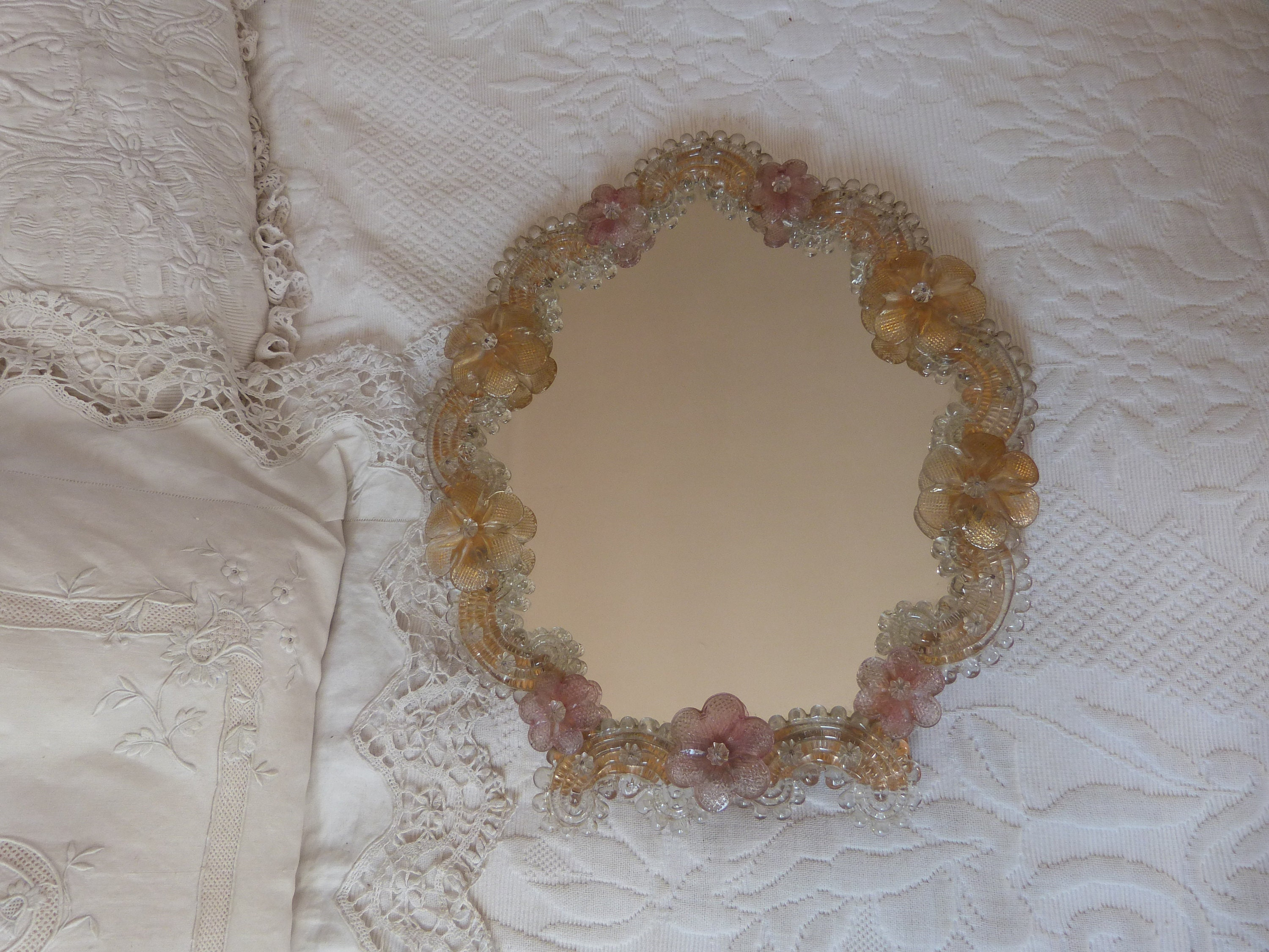 Description. Large Antique Venetian Glass Mirror ...