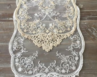French Lace Runner Size 12''*32'' or  12''*44'' 100% Cotton