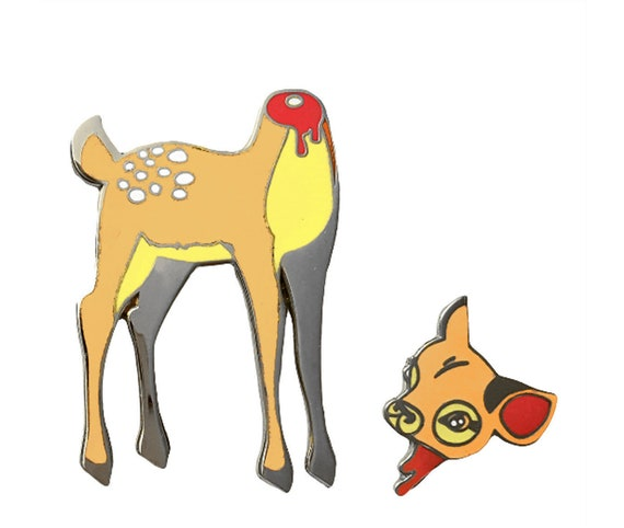 Oh Deer 2-Part Enamel Pin Set in Nickel