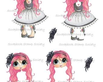INSTANT DOWNLOAD Digital Digi Stamps Gill 3D Decoupage kit Besties Big Head Dolls Digi By Sherri Baldy
