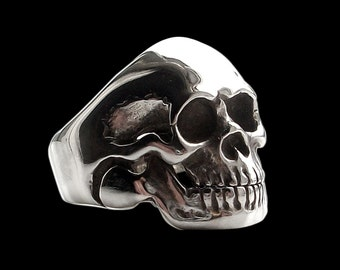 Skull ring - Sterling Silver Movable Jaw Skull Ring -  ALL SIZES