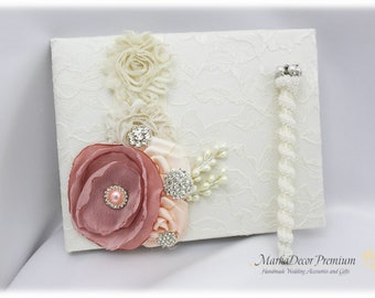 Wedding Lace Guest Book Pen Set, Jeweled Guest Book, Brooch Book, Birthday Book, Signature Guest Book in Ivory, Dusty Pink, Blush
