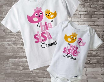 Big Sister Little Sister Outfits - Matching Sibling Set of 2 - Matching Outfits - Pink Orange Birds - Price is for Both Items 12222011a