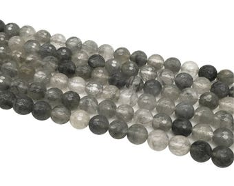 1Full Strand Gray Quartz Faceted Beads 6mm 8mm 10mm Wholesale Gemstone For Jewelry Making