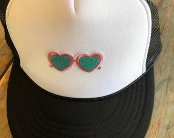 YOUTH / TEEN Pink Blue Sunglasses Patch Trucker Hat Baseball Cap Snap Back