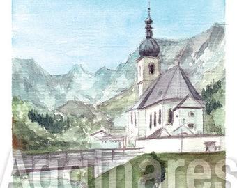 Ramsau St Sebastian Bavaria Germany / art print from an original watercolor painting