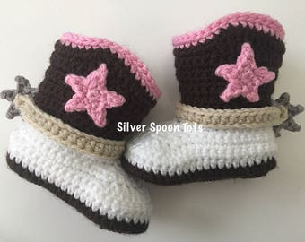 baby girl cowboy boots, baby boots, newborn cowboy boots,cowgirl boots, baby bootie, baby shoes, star, spurs & strap,