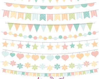 Vintage Bunting Banner Clipart. Scrapbook printable, Pastel Vector .eps banners. Soft Colors Clip art, Cute flag banner