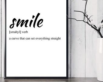 Printable Art, Smile Definition Print, Printable Quote, Inspirational Wall Art, Motivational Wall Art, Inspirational Quote, Black And White
