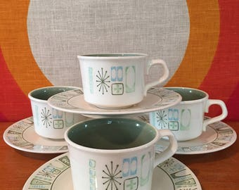 Taylor Smith Taylor Cathay Pattern Cups & Saucers, set of 4, Atomic Taylorstone Cathay, Geometric and Starburst Pattern, Mid Century Modern