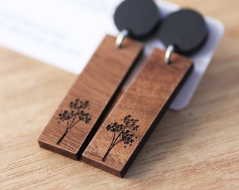 Etched Dandelion Timber Earrings / Dangle Wood Stud Earrings / Dandelion Wish Flower Earrings, Laser Cut Studs, Free Postage Surgical Steel