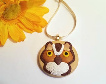 Owl Ornament or Fridge Magnet, Polymer Clay Owl Wall Art, Nature Lover Gift, Woodland Ornament, Owl Decor, Hanging Wall Art