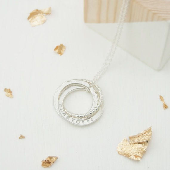 customized russian three ring engraved necklace gift for her