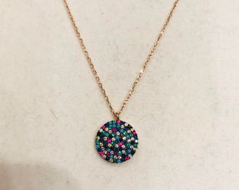 Small CZ Mosaic Necklace in 14kt Rose Gold Vermeil