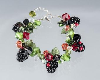 Blackberry Bracelet  Lampwork bead jewelry hand blown glass art Birthday gift, Mother's Day gift for gardener, cook, chef