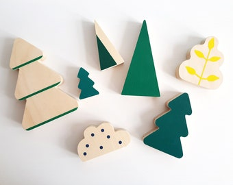 Forest wooden toys, Waldorf Toys, Woodland decoration, Woodland bedroom, Forest tree, Wood pine, Natural toy, Montessori toys, Wooden blocks