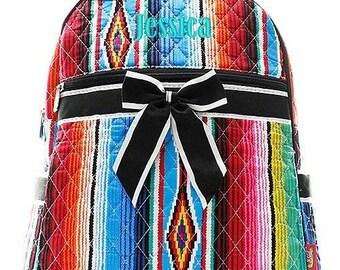 Monogrammed Serape Backpack Monogrammed Serape Quilted Backpack Personalized Serape Backpack Serape Black Bag