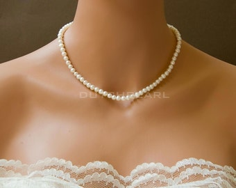 Classic  handknotted delicate pearl necklace for bride bridesmaid flower girl gift - pearls  hand knotted bridal necklace simple
