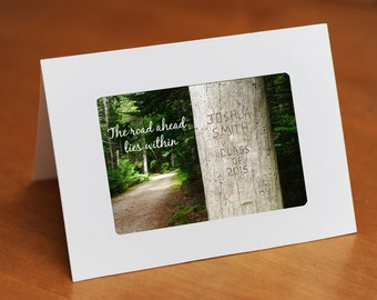 Personalized Graduation Card, Custom Quote and Message Carved in Tree, Gift for Grad, Commencement Gift, Commencement Card