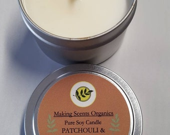 Making Scents Organics PATCHOULI CEDARWOOD  Soy Candle Made in Vermont with High Quality Oils.