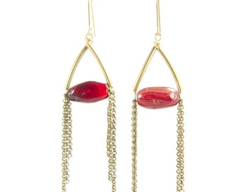 AUTUMN | Carnelian with Brass Tubes and Antiqued Brass Chain Tassel Dangle Earrings