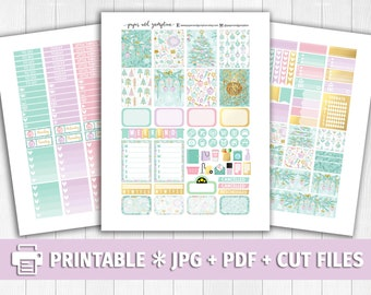 PASTEL CHRISTMAS Printable Planner Stickers/for use with Erin Condren/Weekly Kit/Silhouette Cutfiles/Winter White Christmas
