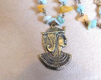 Jade and Amozonite Pharoah Necklace