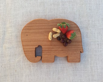 Elephant Breakfast Board -- Wood Plate -- Cutting Board -- From Jennifer