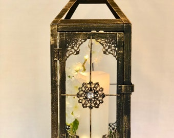 Medium Vintage Black lantern with candle/home decor/table centrepiece/hanging lantern/fairy light