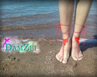 Crocheted Anklet, Red Barefoot Sandal, Barefoot Sandal, Lace Barefoot Sandal, Barefoot Anklet, Foot Jewelry