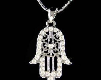 Swarovski Crystal Jewish Hamsa Hamesh Fatima Hand Charm Pendant Chain Necklace