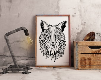 Tribal Fox Drawing Wall Art