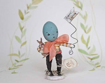 Easter decoration Spun cotton easter egg girl figurine
