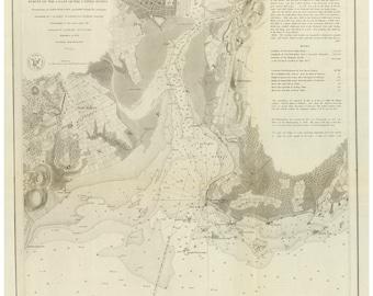 New Haven Harbor - 1846 Nautical Map - Reprint - 18-USA Regional-1854-03